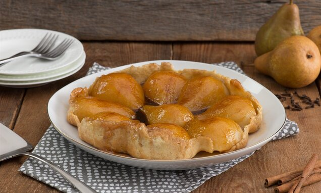 Spiced Poached Pear Tarte Tatin
